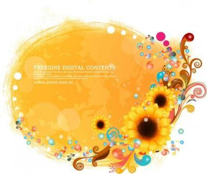 free vector Sunflower and colorful background pattern vector