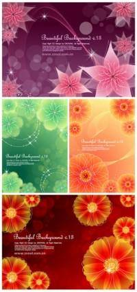 4 dynamic flower background vector dream