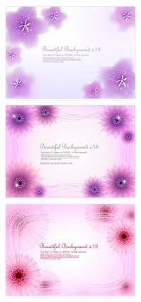 3 dynamic flower background vector