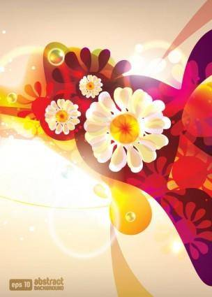 free vector Dream of flowers vector background 2