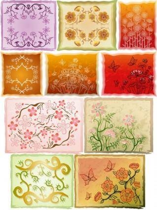 Fresh flowers handpainted background vector case 4