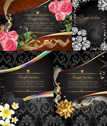 4 money flowers card vector