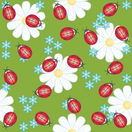 Cute ladybug flowers vector background