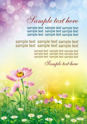 Colorful flowers background 01 vector
