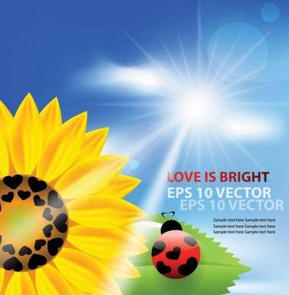 Cartoon sunflower background 01 vector