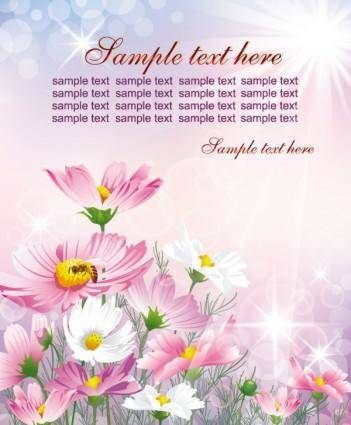 free vector Colorful flowers background 05 vector