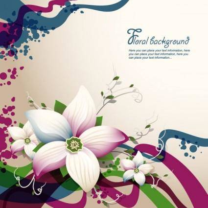 free vector Beautiful flowers shading background 04 vector