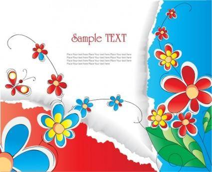 Gorgeous flowers and tear background vector