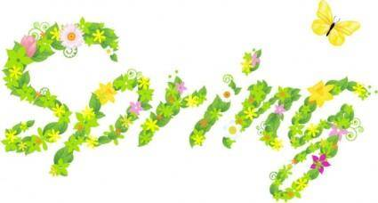 free vector The composition of spring flowers leaves vector