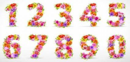 Beautiful flowers and figures 01 vector