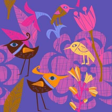 Lovely handpainted flowers birds vector 1