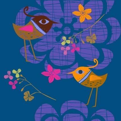 Lovely handpainted flowers birds vector 2