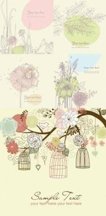 Lovely flowers plants vector