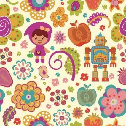 free vector Pattern vector cute cartoon flowers