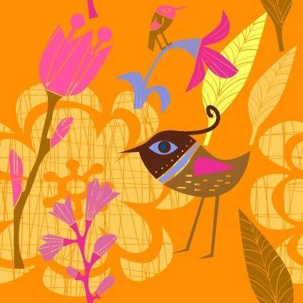 free vector Lovely handpainted flowers birds vector 3