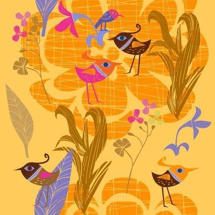 Lovely handpainted flowers birds vector 5