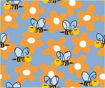 free vector Cute bee flowers vector 2 continuous background