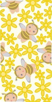 free vector Cute bee flowers vector 3 continuous background