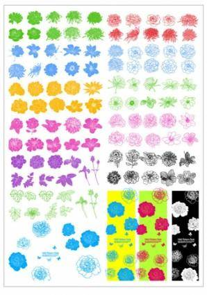 free vector Ink flowers vector line draft