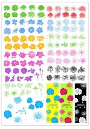 free vector Ink flowers vector line draft