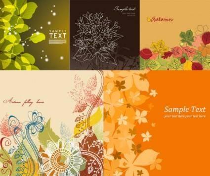 free vector Lovely background vector flowers and plants