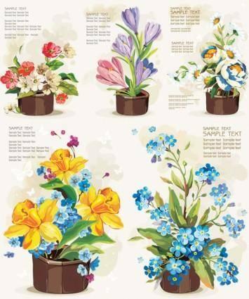 free vector Pots of flowers vector