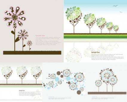 Lovely trees vector flowers