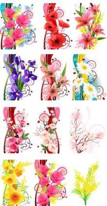 free vector Several flowers vector