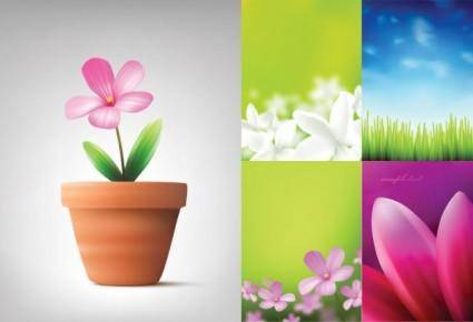 free vector Absolutely beautiful flowers and plant vector