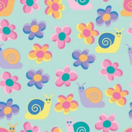 free vector Crucible continuous background lovely vector flowers cattle