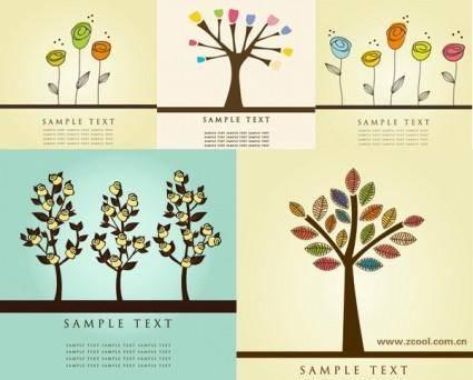 free vector Lovely flower tree vector