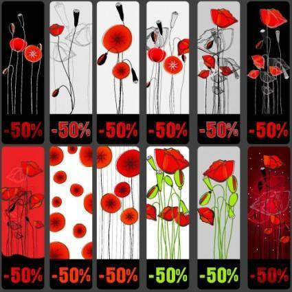 free vector Topic discount tag vector flowers