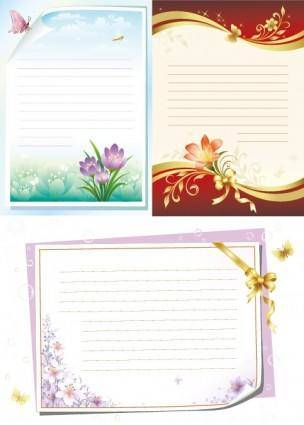 free vector Flowers stationery vector