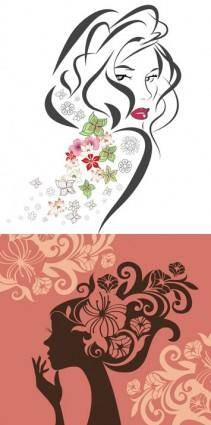 Female character sketch of flowers vector