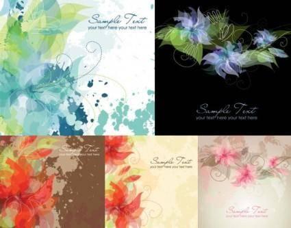 free vector 5 ink flowers vector dream