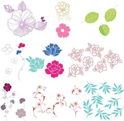 free vector Simple case of a variety of flowers leaves vector