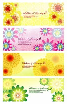 4 colorful flowers vector background