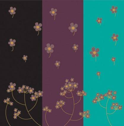 Threecolor flowers vector background
