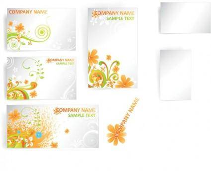 Flower card template vector pattern