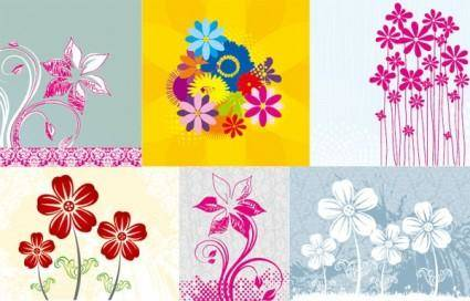 6 handpainted flowers vector