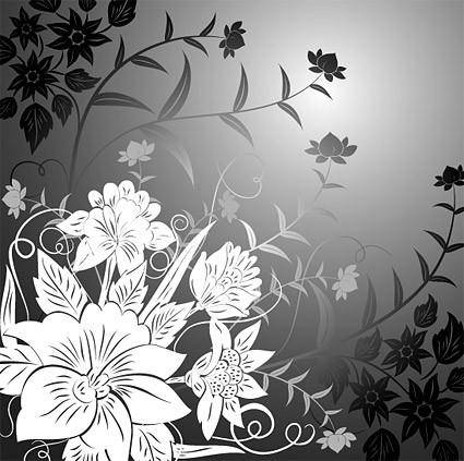 Trend line drawing vector flowers