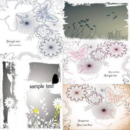 free vector Flowers and butterflies vector