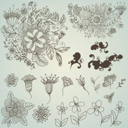 free vector Line drawing flower pattern vector