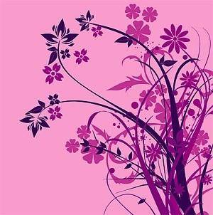 free vector Purple flower silhouette vector fashion