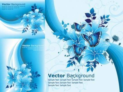 free vector Beautiful blue flowers vector