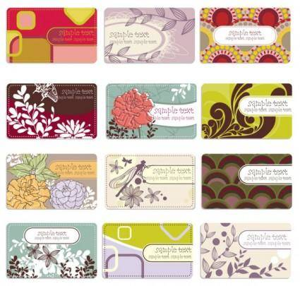 free vector Background elegant flower pattern cards 01 vector