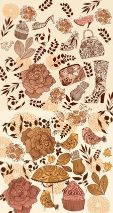 free vector Theme of female flower pattern vector