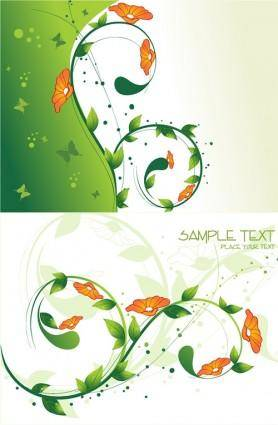 free vector Flowers green leaves background vector