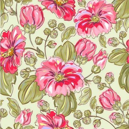 Handpainted flowers vector background 5