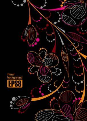 Draft colorful flowers line 01 vector